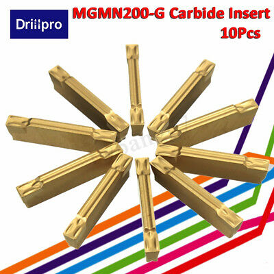 10X MGMN200-G Carbide Insert Width 2mm For MGEHR/MGIVR Grooviing Cut-Off Tool
