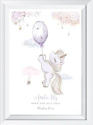 Personalised baby girl unicorn print picture gift star wall art name christening