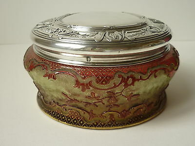 1900's Baccarat cameo crystal box with Puiforcat 950 solid silver for Russia