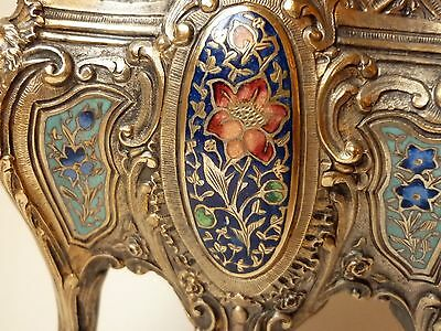 1850's French gilt bronze and champleve enameled jardiniere flower pot