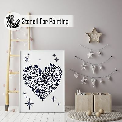 BLOOMING HEART Nursery or Girls Bedroom - Furniture Wall Stencil for Painting