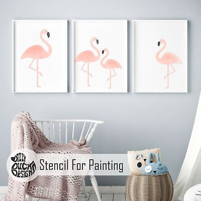 FLAMINGO Nursery or Girls Bedroom - Furniture Wall Stencil for Painting