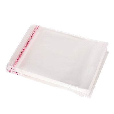100Pc Clear Cellophane Cello Bags Plastic OPP Card Display Self Adhesive 14x8CM