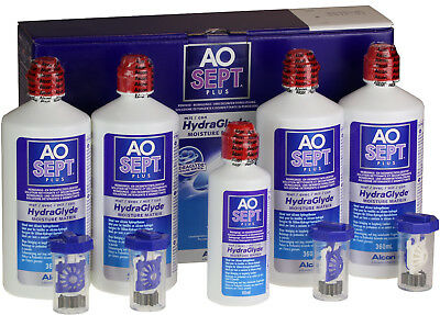AOSept Plus HydraGlyde 4x360ml Peroxyd Pflegemittel +1x90ml gratis 100ml=3,47€