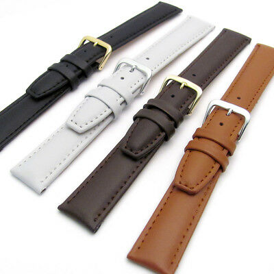 Smooth Padded Replacement Leather Watch Band 16mm 18mm 20mm 4 Colours C009
