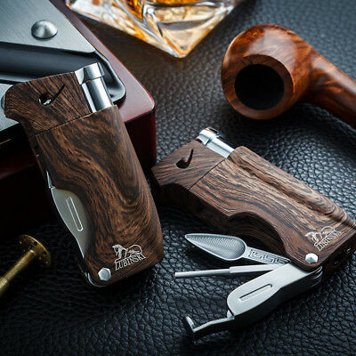 LUBINSKI Wood Grain Multifunctional Cigar Lighter W/ Punch Tobacco Tamper Pipe