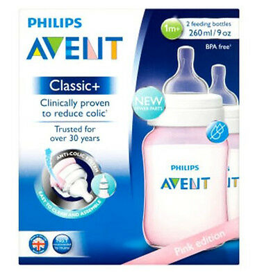 Philips Avent Pink Edition Classic+ 2 Feeding Bottles 1m+ 260ml