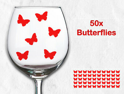 50 x Butterfly Design Wine Glass Beer Tumbler Vinyl Stickers Decals