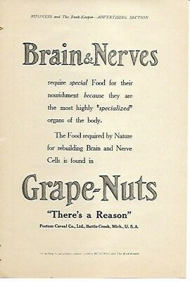 Grape Nuts Nature Requires for Rebuilding Brain and Nerve Cells 1910 Vintage Ad