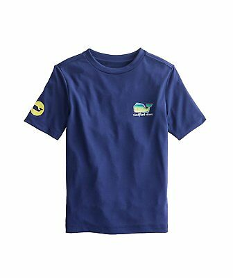 New Boys Vineyard Vines T Shirt Dolphin Whale Deep Bay Navy Blue Short Sleeve