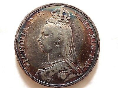 1889 British One (1) Crown Silver Coin Beautiful Toning