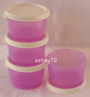 Tupperware Everyday Kids Snack Cups Set (4) Purple Daisy & Sugar White New