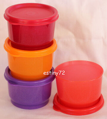 Tupperware Everyday Kids Snack Cups Set (4) Be Dazzled Red, Orange, Purple New