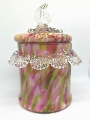 Early 20th Century Czech Cased Spatter Art Glass Lidded Jar / Pot - FRANZ WELZ