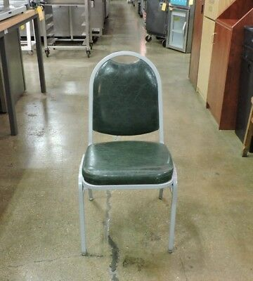 Metal Frame Banquet Chair with Green Seat