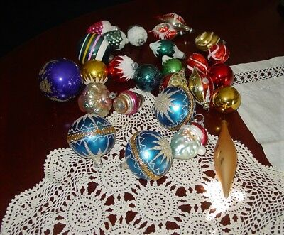 VTG Lot of 26 Various Types Shiny Brite Christmas Ornaments Indent USA