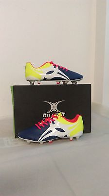 Clearance New Gilbert Rugby Boot Evolution Blue Lime Size 8