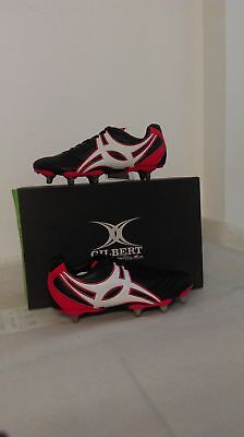 Clearance New Gilbert Sidestep XV Hard Toe Black Red 8Stud Rugby Boot Size 7