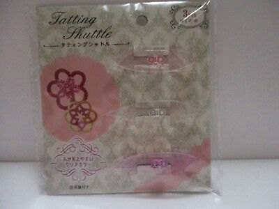 Japanese Handcraft Tatting Shuttle Small CLEAR COLOR 3Pcs From JAPAN