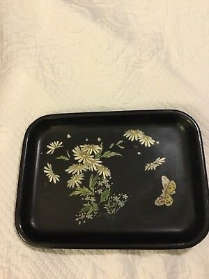 Antique Chinoserie Decoupage/ Black Paper Mache tray - 1920's butterfly