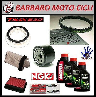 Replacement Kit Yamaha Tmax 530 2013 T-Max Oil+Spark Plugs+Filters+Belt Athena