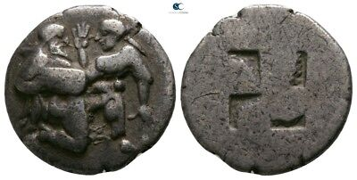 Savoca Coins Thrace Thasos Stater Satyr Nymph Silver 4,90 g / 18 mm $KBA9070