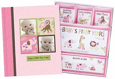 Baby Girl Memory Book Hardcover Record Babys First Five Years Diary Precious