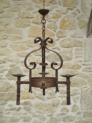 Vintage French Wrought Iron Candle Chandelier Light Gothic Lustre Fer Forge
