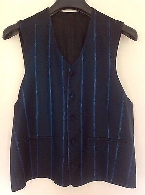 Mens CATANZARO Black & Blue Waistcoat Made in Spain Medium NEW