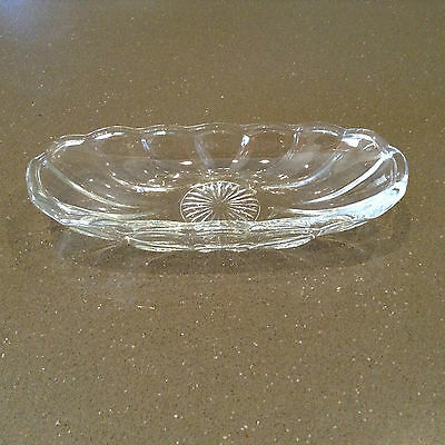Heavy Vintage Cut Glass Oval Serving Or Butter Dish