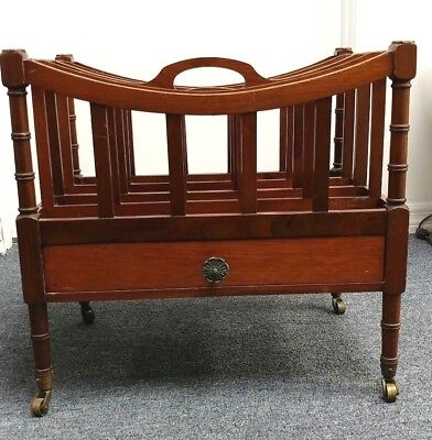 "Antique English Mahogany Regency Canterbury Magazine Rack 14 X 19 X 20"" W/drawer"