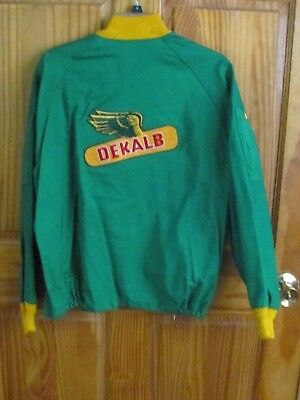 Vintage Dekalb Seed Corn Costumer Jacket Wind Breaker Large Patch Size L