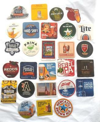 27 Assorted Beer Drink Coasters Bar Style Fat Tire Sam Adams Guinness Heineken