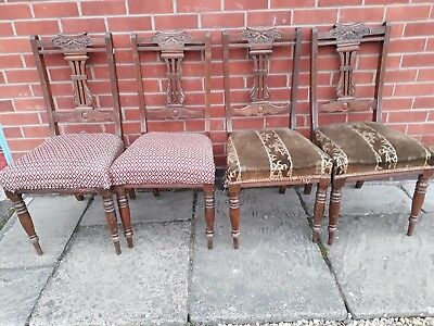 Four Edwardian Carved Walnut Dining Chairs For Restoration