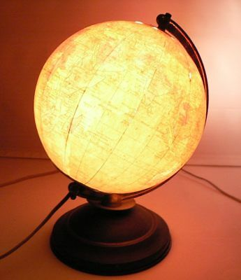 Replogle World Globe Map Lamp Illuminated 8 inch Earth 1940's Vintage Metal Base