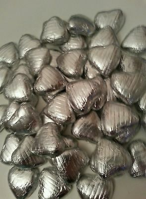 50 Silver wrapped solid belgian chocolate hearts/wedding favours /sweets
