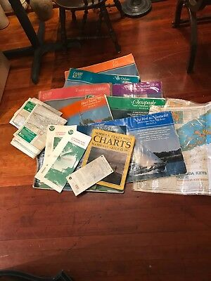 Lot of 15 Vintage Nautical Chart Map Poster New Orleans/Texas/Fl Keys/NY & More