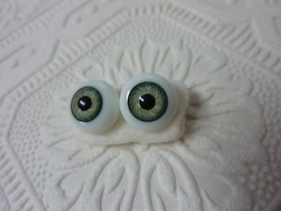 GLASS  DOLL EYES LT. GREEN 16MM  glassblower made Germany  reborn