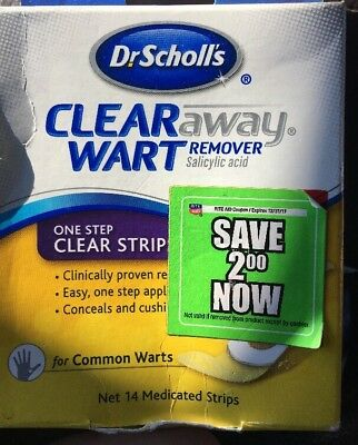 Dr. Scholls Clear Away One Step Wart Remover clear strips - 14 Strips Ex 8/17 D