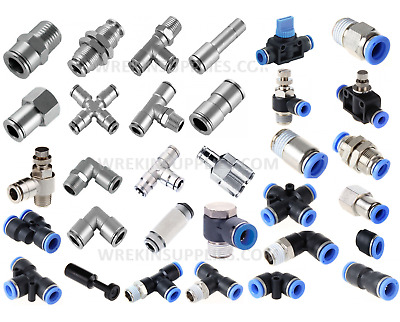 Metal Pneumatic Push In Fittings Hose Tube Water Air Speed Fit Join Adaptor Tee