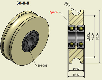 50mm Nylon Pulley Wheel with Ball Bearings Various Groove Size Precisely Turned.