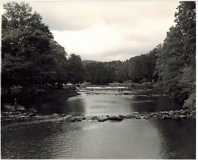Stunning 8 x 10 Black & White Contrast Photo Lone Fisherman On Riverbank 1960's