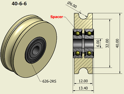 40mm Nylon Pulley Wheel with Ball Bearings Various Groove Size Precisely Turned.