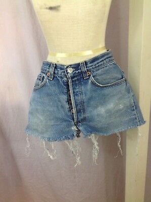 "vintage levis cut-off cut-offs denim jean shorts button fly 501 ACTUAL 30""W SH83"