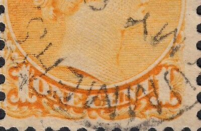 Re-entry on third stamp of three Scott's # 35x - 1 cent Small Queen