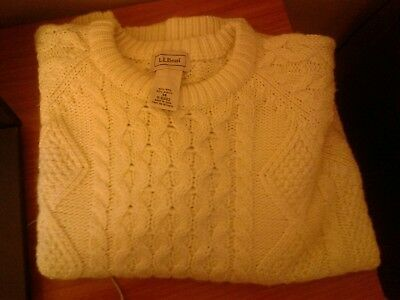 LL Bean VTG BOYS Cable Knit or Fisherman Sweater Crew Neck Oatmeal U