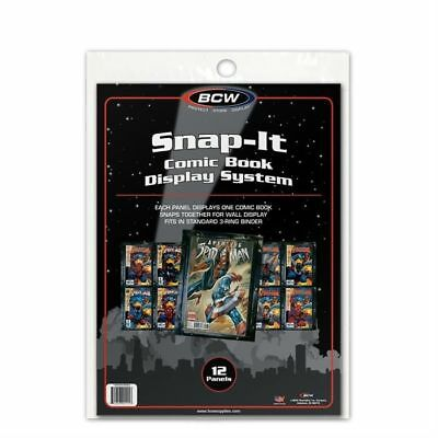 Pack of 12 BCW Snap It Comic Book Wall Display Panels holders Current and Silver