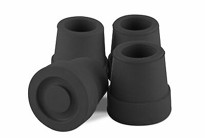 Premium Black 5/8 Inch Walking Quad Cane Tips for Replacement - Rubber Anti Skid
