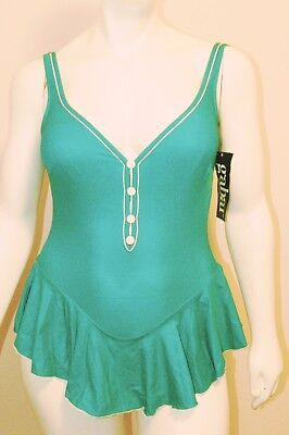 Gabar Vintage Swimsuit One Piece Green Button Front Size 14 New With Tags