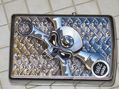 New ZIPPO Windproof USA LIGHTER Wrenched Cross Skull Crome combination Auto tech